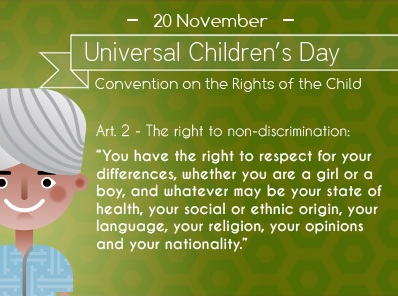 """You have the right to respect for your differences, whether you are a girl or a boy, and whatever may be your state of health, your social or ethnic origin, your language, your religion, your opinions and your nationality."""""""